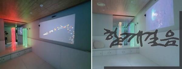서울발달장애직업훈련센터 심리안정 남자휴게실의 게임과 영상 콘텐츠(왼쪽)와 물기둥